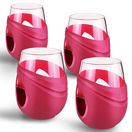 FCSDETAIL 500ml Borosilicaatglas Stemless wijnglazen met beschermende siliconen hoes voor rode wijn, witte wijn, koffie en water, enz. (Set van 4) 500ml Rood