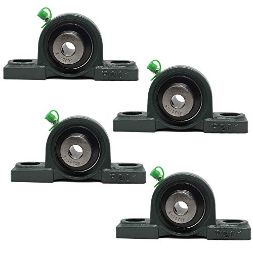 "PGN - UCP201-8 Pillow Block Mounted Ball Bearing - 1/2"" Bore - Solid Cast Iron Base - Self Aligning (4 Pack)"