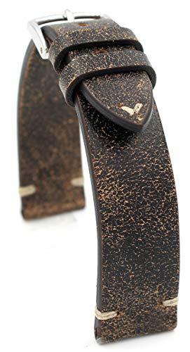 Rios1931 Sagittarius - Correa de reloj de piel de vacuno, estilo vintage, hecha a mano en Alemania, resistente, 18 mm, color marrón