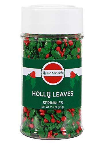 Mystic Sprinkles Holly Leaves Sprinkles 2.5oz Bottle