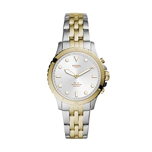 Fossil Women's FB-01 Stainless Steel Hybrid Smartwatch, Color: 2T Silver/Gold (Model: FTW5071)
