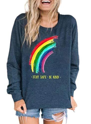 Sudadera colorida con estampado de letras arcoíris para mujer, cuello redondo, informal, manga larga, suelta.