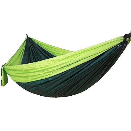 DaiHan Hamaca Colgante Capacidad de Carga Ultraligera Nylón de Paracaídas Portátil y Transpirable,Ideal para Viaje Jardín, Camping Doble Verde S