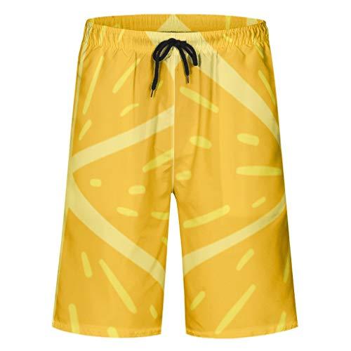 Lind8 Herren Board-Shorts 1565063462OVXDJ Muster, Bedruckt, elastisch, mit Taschen und elastischem Bund Gr. XL, weiß