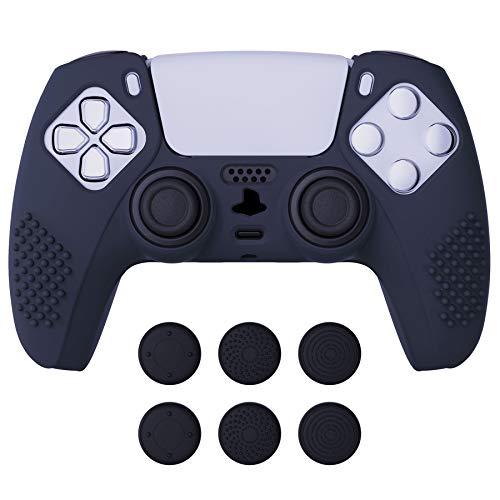 eXtremeRate PlayVital Cover Controller Skin per PS5 Custodia Protettiva in Silicone Antiscivolo con 6 Gommini Coprilevette Analogiche per PlayStation 5 Joystick-3D Borchiate(Blu)