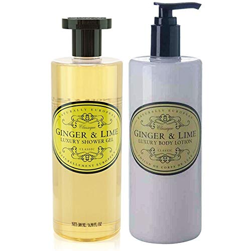 Naturally European Ginger & Lime Rich & Nourishing Shower Gel & Body Lotion Duo Pack | No SLS and Parabens | Cleansing and Moisturising Lotion