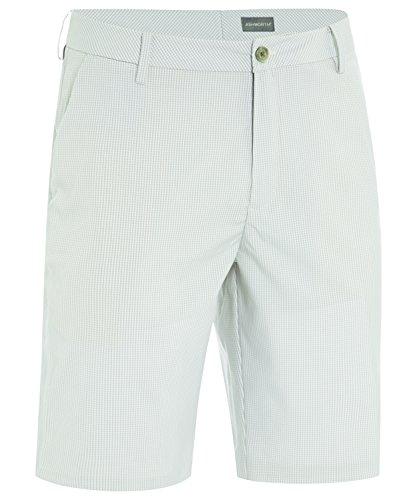 Ashworth - Pantalón Corto para Hombre, diseño de Cuadros con Parte Delantera Plana, Color Blanco y Guijarro, 80,8 cm