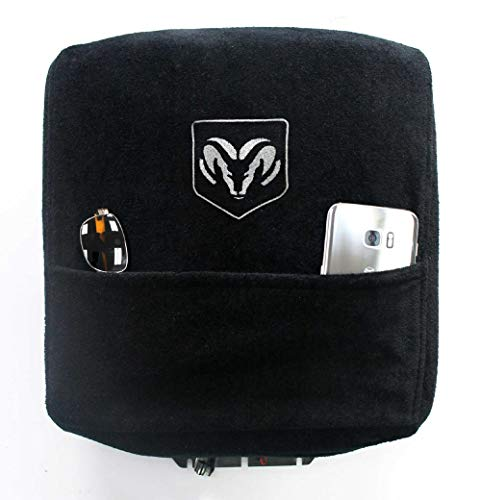 Seat Armour Custom Fit Officially Licensed Center Console Cover with Ram Embroidered Logo for Select Ram Models - (Black)