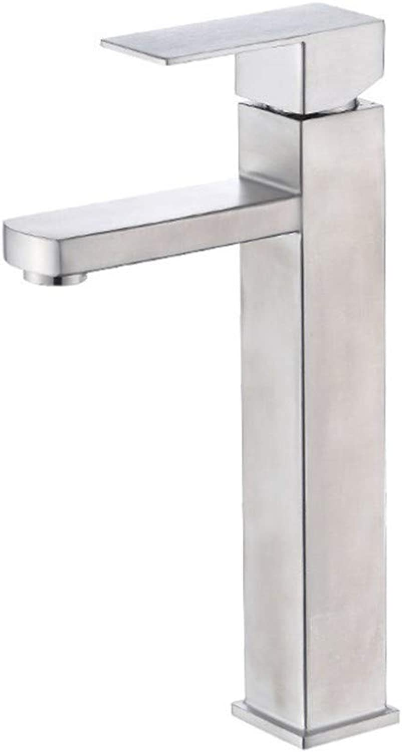 Basin Faucet304 Stainless Steel Table Basin Hot and Cold Quadrangular Faucet