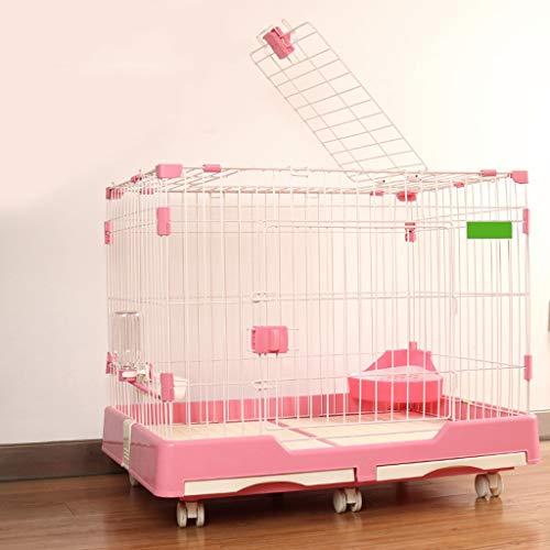 LVLVLO Valla for Mascotas, Villa Jaula de Perro de Interior de Peluche, al Aire Libre Valla de Juego de Mascotas, pequeña Jaula de Perro y Gato Jaula de tamaño Mediano (Color : Pink, Size : M)