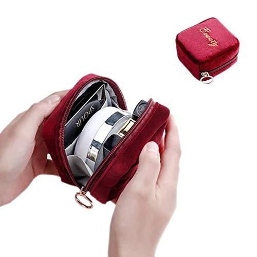 Edary Maquillage Sac de Velours Rouge à lèvres Mini cosmétiques Sac Lipstick Portable Recharge Poudre compacte cosmétique Sac de Rangement Petit Sac (Rouge)