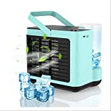 Personal Air Cooler,Portable Air Conditioner Fan,USB Rechargeable Quiet Mini Cooling Fan,Small Desktop Cooler Fan, Evaporative with LED Light 3 Speed for Home,Office,Bedroom-Blue