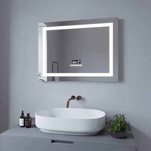 AQUABATOS® 80x60 cm LED Badspiegel mit Beleuchtung Wandspiegel Beleuchtet Badezimmerspiegel Dimmbar Uhr Bluetooth Lautsprecher Kaltweiß 6400K Warmweiß 3000K Beschlagfrei Antibeschlag IP44 CE