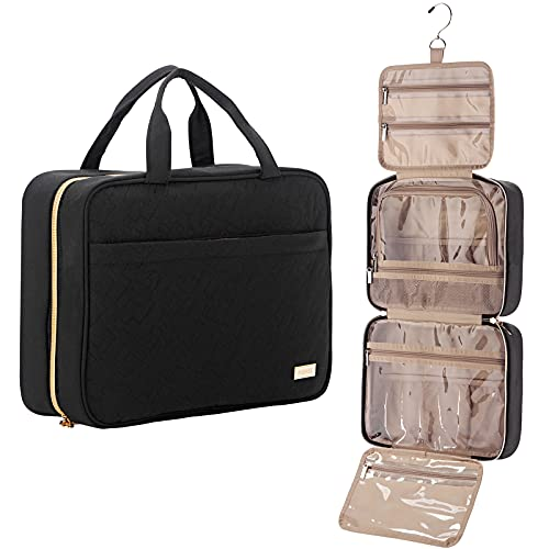 NISHEL Large Hanging Travel Toiletry Bag  Portable Makeup Organizer  Water Resistant Cosmetic Holder for Brushes Set  Full-Sized Shampoo  Conditioner  Accessories  Black