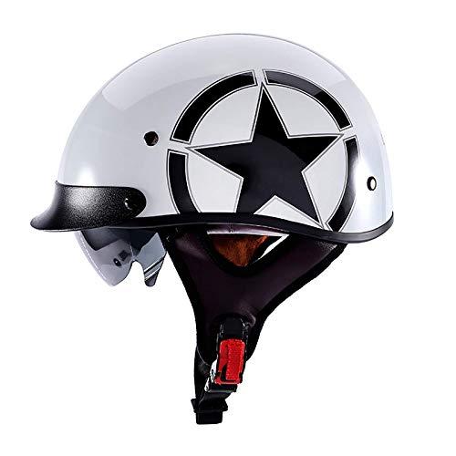 ACEMIC Casco Retro para Motocicleta con Medio Casco, Certificado por el Dot para Hombres y Mujeres Adultos, Gorro para Montar en Carretera, Casco para Motocicleta, Medio Casco, Casco para motocicle