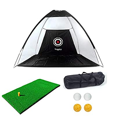 Golf Net, Golf Hitting Nets with Target Backyard Driving Range Swing Chipping Golfing Training, Indoor Outdoor Golf Practice Net with A Golf Hitting Mat