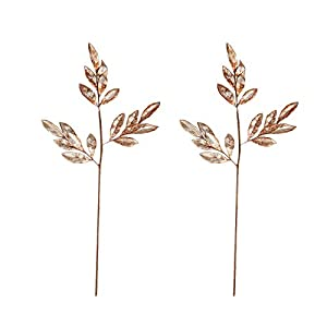 BalsaCircle 2 pcs 28-Inch Tall Glittered Leaves Stems Sprays – Wedding Party Centerpieces Arrangements Decorations Supplies