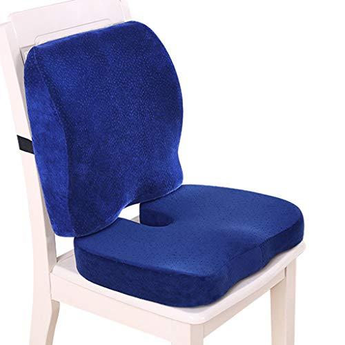 QVIVI Memory Foam Seat Cushion Chair Pads and Lumbar Support Pillow, Provide Comfort for Car Office Chair for Relieving Lower Back Pain Sciatica
