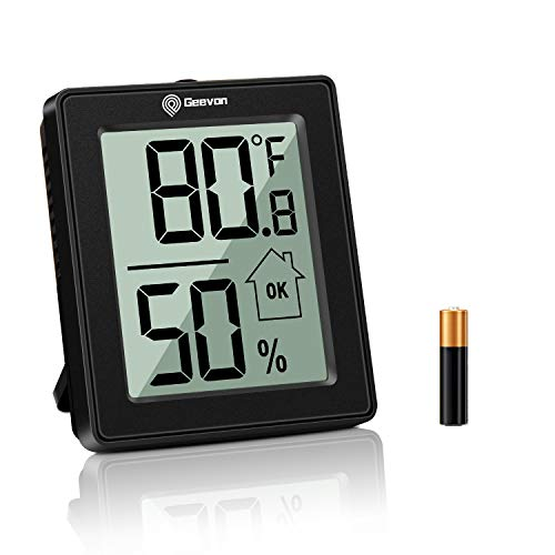 Geevon Digital Hygrometer Indoor Thermometer Room Humidity Gauge with Battery,Temperature Humidity Monitor Indicator for Home, Office, Greenhouse, Mini Hygrometer,Black(1 Pack)