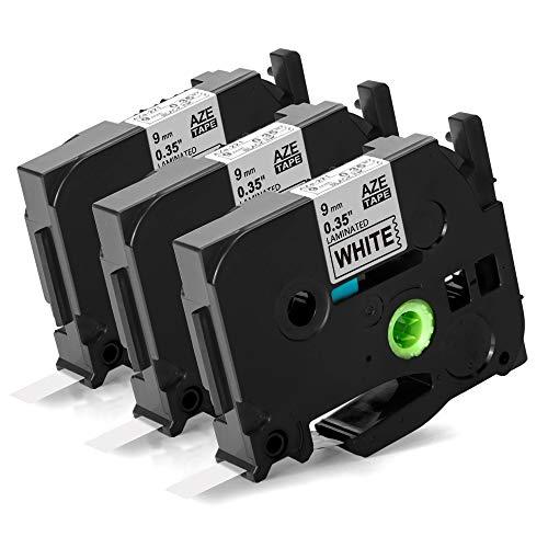 Unistar kompatibel Schriftband als Ersatz für Brother P-touch TZe-221 TZe 221 TZe 9mm 0.35 White Tape für Brother P-Touch D400 1010 H100LB/R H105 E100/VP D200/BW/VP D210/VP, 3er-Pack