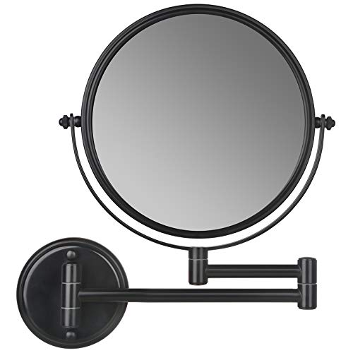 Wall Mounted Makeup Mirror, SanaWell 3X Magnification Mirror with 8 Inch Double Sided 360°Swivel Vanity Mirror for Bathroom (No Light Matte Black)