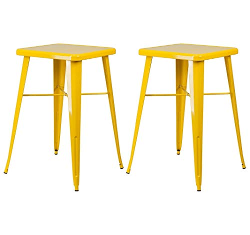 Modern Vintage Style Lounge Pub Bar Dining Table Solid Powder Coated Metal Frame Indoor-Outdoor Home Office Commercial Furniture - Set of 2 Yellow #2016