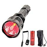 Linterna de Luz Roja, Linterna de Caza LED Super Brillante Linterna Táctica, 350 Yardas Luz de Caza Impermeable para Coyote Hog, con Interruptor de Presión Remoto y Cargador de Batería