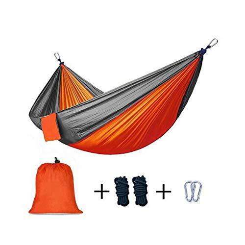 NOLOGO Qyzs-lj Schaukel Hängematte, Fallschirm Tuch Hängematte, Erholung in der Natur Schwingen Camping Hängematte, Größe 260 * 140 cm, 300 * 200cm (Farbe : Orange Gray, Größe : 300 * 200cm)