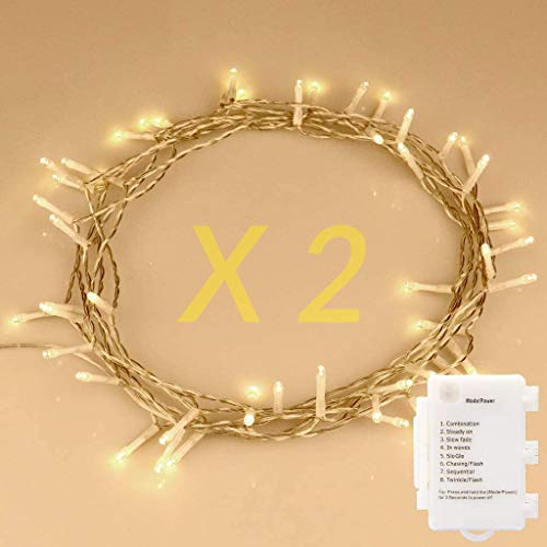 [2 Pack] STARKER 50 LED Outdoor Christmas Lights, Battery Operated Fairy Lights 8 Mode String Lights for Garden, Bedroom, Party, Festival Decoration