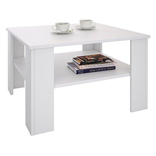 CARO-Möbel Couchtisch Wohnzimmertisch Felice in weiß mit Stauraum, 68 x 68 cm