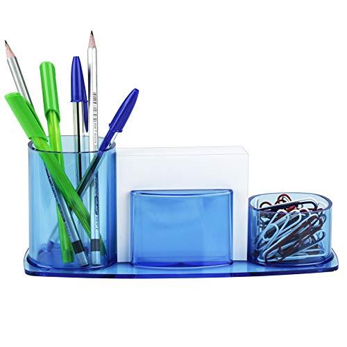 Acrimet Millennium Desktop Organizer Pencil Paper Clip Cup Caddy Holder (Plastic) (with Paper) (Clear Blue Color)