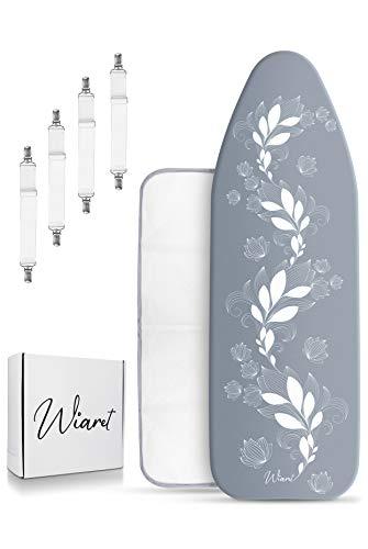 Wiaret - Funda universal para tabla de planchar (120 x 40 cm, con goma elástica y tensores de tabla ajustables), tela, azul grisáceo, 120 x 40 cm