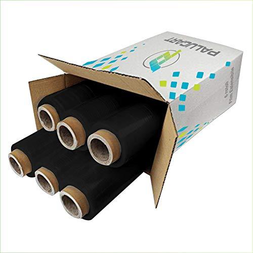 Palucart 6 rotoli Pellicola Film estensibile nero manuale spessore 23 my 2,4Kg altezza 500 mm