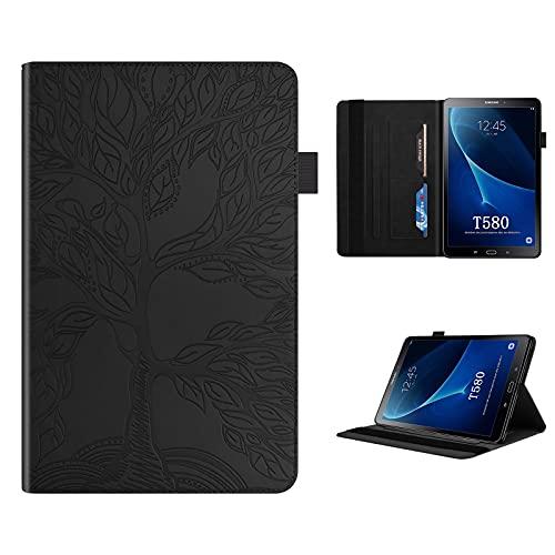 CXTcase Funda para Galaxy Tab A 10.1 2016 T580/T585, Ultra Slim Magnético Smart Cover Samsung SM-T580 Cuero Soporte Función Ranura para Tableta Tarjeta Carcasa Samsung Tab A6 2016, Negro
