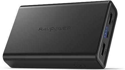 RAVPower Caricatore Portatile 10000mAh Power Bank, Batteria Compatta da 10000 con Potenza 3.4A, Elevata velocità Ricarica, Due Porte USB iSmart 2.0, Caricabatteria Portatile per Smartphone e Tablet