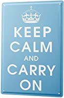 S-RONG雑貨屋 ブリキブリキ 看板レトロ デザイン Sayings Keep Calm and Carry on Crown Blue 20x30cm
