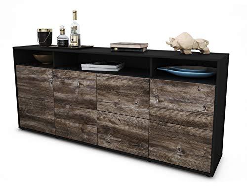Stil.Zeit Sideboard Evita/Korpus anthrazit matt/Front Holz-Design Treibholz (180x79x35cm) Push-to-Open Technik