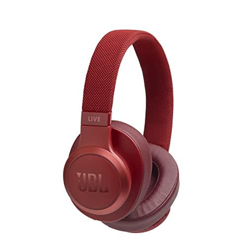 JBL LIVE 500BT - Auriculares Inalámbricos con Bluetooth, asistente de voz integrado, sonido Pure Bass con Tecnologías TalkThru y AmbientAware, hasta 30h de música, rojo