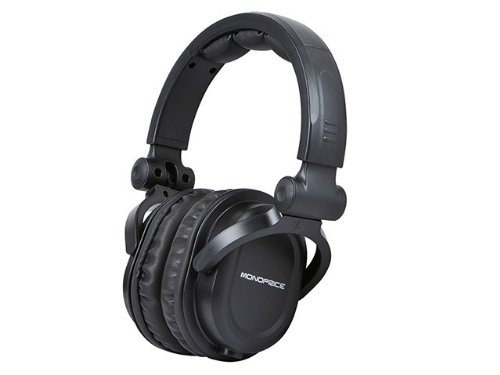 Monoprice Premium Hi-Fi DJ Style Over the Ear Professional Headphones - Black with microphone for Studio PC Apple Iphone iPod Android Smartphone Samsung Galaxy Tablets MP3 (Renewed)