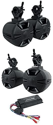 "(4) ALPINE PSS-SX01 6.5"" Wakeboard Tower Speakers/Amplifier/Bluetooth Compatible with ATV/UTV/RZR Bundle with Alpine SPV-65-SXS Rollbar Rollcage Speaker Pods"