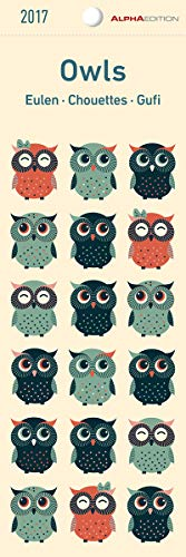 Eulen 2020 - Lesezeichenkalender (5,5 x 16,5) - Owls - Tierkalender - Gadget - Lesehilfe - Geschenkidee