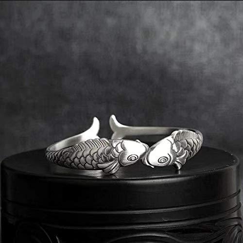 Pulsera Yarmy Piscis Pulsera de plata pura S999 en estilo étnico, pulsera de plata de ley con un par de peces boca