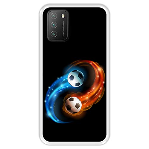 Hapdey Funda Transparente para [ Xiaomi Poco M3 ] diseño [ Abstracto, Fuego y Agua, balón de Futbol ] Carcasa Silicona Flexible TPU