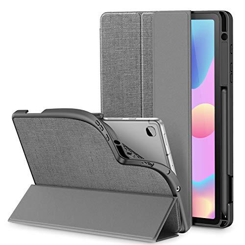 INFILAND Hülle für Galaxy Tab S6 Lite mit S Pen Halter, Superleicht TPU Smart Schutzhülle mit Auto Schlaf/Wach Funktion für Samsung Galaxy Tab S6 Lite 10.4 P615/P610,Grau