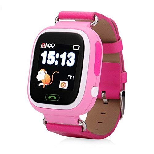 HelloPet Q90 GPS Kids Smart Watch, GPS GSM Bracelet Tracker Support SOS Call, GPS Locator, Voice Chatting, Remote Monitor, Pedometer, Anti-Lost Monitor, Pedometer for Children (Pink)