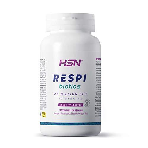Probiótico Salud Respiratoria de HSN RESPI BIOTICS | 25 Billones UFC | Suministro 4 Meses | 11 Cepas Lactobacillus y Bifidobacterium + Inulina + FOS | Vegano, Sin Gluten, Sin Lactosa, 120 Veg Caps