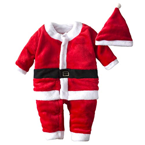 BIG ELEPHANT Unisex Baby 1 Piece Warm Christmas Long Sleeve Romper Pajama with Hat V01 (12-18 Months, Red)