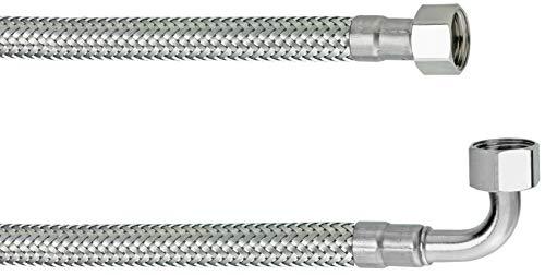 Cornat Flexibler Verbindungsschlauch - 200 mm Länge - 3/8 Zoll IG, 3/8 Zoll IG - Hochwertige Edelstahl-Umflechtung / Anschlussschlauch für Spülkasten / Flexschlauch / T317228