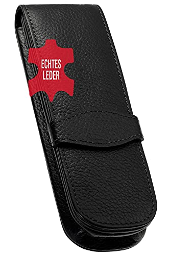 ONLINE Leder-Etui Classic für 2 Stifte, Kugelschreiber-Etui, für Schreibgeräte aller Marken, Echtleder, Geschenkidee für jeden Anlass, 14,5 x 4,5 x 2,5 cm, schwarz, für 2 Schreibgeräte