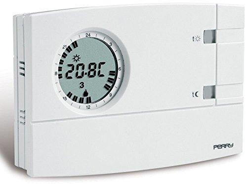 Cronotermostato analogico digitale settimanale Perry 1CRCR309-S da parete Colore bianco 3V EASY Display LCD 2 pollici 2 3 Regolazione set temperatura visualizzata sul display 2 livelli temperatura e antigelo 5°C fisso Alimentazione 2 pile alcaline 1.5V AA